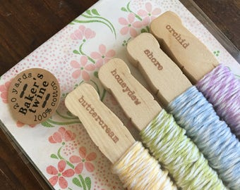 Baker's Twine Kit, bundle of four colors.  20 yards total, 100% cotton twine, made in USA.  Crafting or gift wrap.  Pastel Stripes pack.