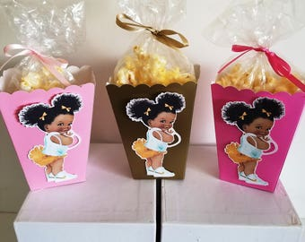 Afro Puffs Baby Snack Boxes - Set of 10 - Gold/Light Pink/Hot Pink