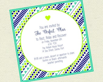 Geometric pattern invitation, shower invitation, birthday invitation, event, party,
