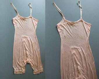 Antique 1890's Women's Soft Pink Silk One-Piece Underwear, Undergarment, Pajamas, Undies, Edwardian/Victorian Era