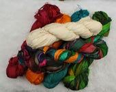 Silk Sari Ribbon Skein from India Green, orange, Red, Blue, Multicolored and Off White