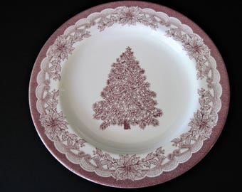 Christmas Plate, Staffordshire Plate, Yuletide Engravings, Red Transferware, Red Holiday Plate, Christmas Tree Plate, Transferware, Holiday
