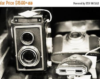 Black & White Photography Camera Art: Double Lens Fine Art Photography Still Life Photography Camera Vintage camera print, Office decor