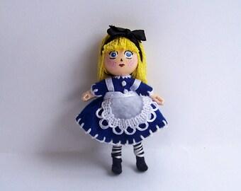 Big Head, Alice in Wonderland 2.75 inch tiny pocket bendy doll, dollhouse, miniature, handmade, hand-painted, kawaii, chibi, blythe-inspired