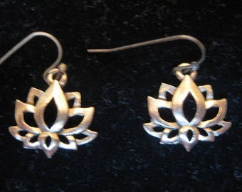 Antiqued Gold Lotus Dangle Earrings