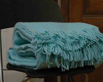 Turquoise Blanket throw , woolen blanket, wool throw, turquoise throw with fringes.