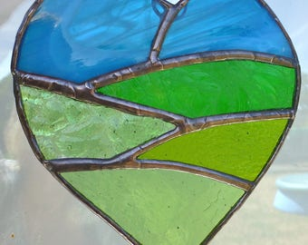 Stained Glass Heart with Field and Sky Lightcatcher