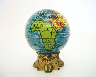 Vintage World Globe -1918 Pencil Sharpener - Rare Base - Made in Germany