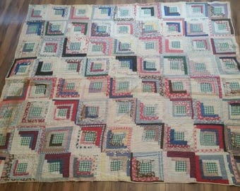 Vintage Antique 1930's 1940's Depression Era Feedsack Feedbag Quilt Border Handmade Hand Sewn Shabby Chic Square Pattern Quilt Blanket Top