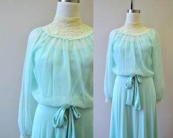 1970s Mint Green Maxi Dress