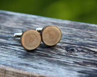 beech - ONE PAIR of natural wood cuff links