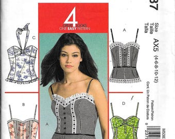 McCall's M5387 Misses Tops Halter Strapless Spaghetti Straps Sewing Pattern UNCUT Size 4, 6, 8, 10, 12