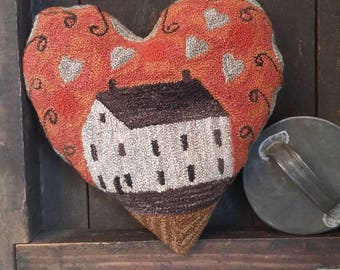 primitive needle punch Love Shack heart pillow