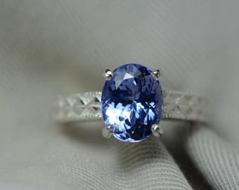 Tanzanite Ring, 3.72 Carat Tanzanite Solitaire Ring, Sterling Silver, Certified, Oval Cut, Real Genuine Natural Tanzanite Jewellery, Size 7