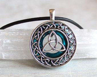 blue celtic knot necklace, triquetra jewelry, unique boyfriend gift, pagan symbol, wiccan jewelry, Irish pendant, mens jewelry