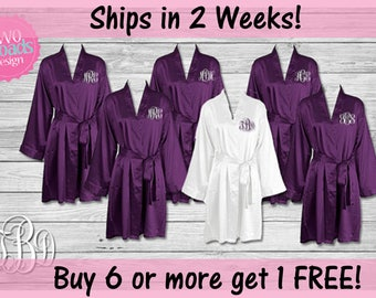 Set of BRIDESMAID ROBES, purple plum robes, bridesmaid satin robes Bride Robe Bridesmaid Gift, Monogrammed Robes, Purple Plum Robes