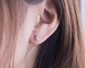 Amethyst Huggie Hoops, Sterling Silver Gold Plated, Minimal Hug Hoops, February Birthstone Earrings, Lunaijewelry, Gift for her, EAR044 AMT