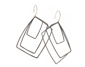 Oxidized Silver Wire Squares Earrings