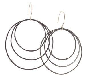 Oxidized Silver Triple Hoop Earrings
