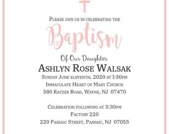 Digital Baptism Invitation Girl Printable - Christening, First Communion, Print Yourself