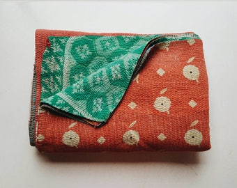 Kantha Quilt - Coral and Aqua Multicolored Kantha - Colorful Boho Bedding Home Decor