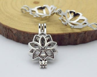 Lotus Flower Bead Cage-5pcs 16x27mm Silver Tone  Alloy Essential Oil Diffuser Pendant Perfume Locket Hollow Pearl Bead Cage Pendant C8475