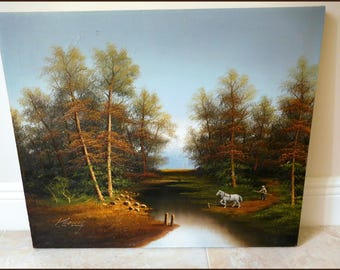 "Vintage Koenig Landscape Oil on Canvas Painting  24"" x 20"" - Trees,Forest,Working Horse,Lake - Offers Welcomed"