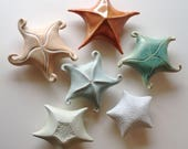 Porcelain starfish, hand built & carved, blue, turquoise or orange