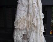 20%OFF wedding, bridal,tattered skirt, boho, fantasy, stevie nicks, bohemian skirt, gypsy skirt, ivory, white, lace skirt, bellydance, m,l