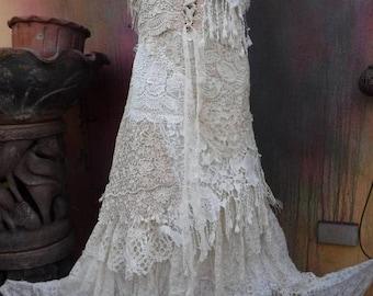 20%OFF bridal, wedding, wildskin, gypsy , fantasy wedding, bohemian wedding, bohemian, boho, tattered dress, woodland, romantic, shabby