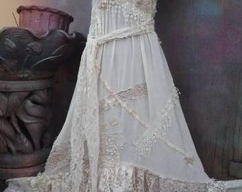 20%OFF wildskin, fantasy, bridal,ivory, romantic, gypsy, dress, boho, wedding dress,slip, bohemian, cotton dress, ivory cotton, stevie nicks