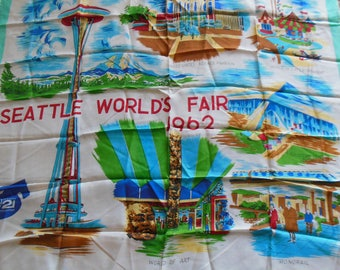 1962 Worlds Fair Scarf, Worlds Fair Map and Sites Scarf