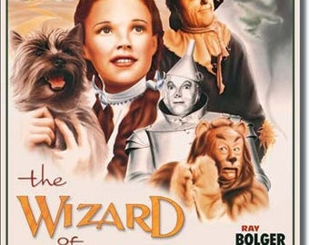 "The Wizard of Oz retro movie poster metal sign  Judy garland wizard tin man Dorothy  Toto lion  12 1/2"" X 16"""