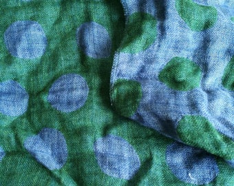 Pure  linen fabric with  blue and green dots #Double face #1.30M