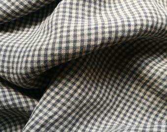 Linen small  gingham checks#gray and graphite  color