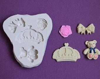 Moule silicone fleur rose noeud couronne ourson pour loisirs créatifs scrapbooking