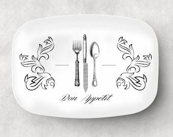 Bon Appetit Serving Platter  Custom Platter  Engagement Gift  Holiday Tray  Family Serving Platter  French Kitchen Decor