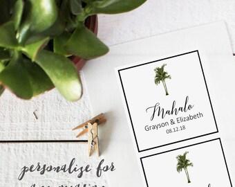 Vintage Palm Tree Favor Labels - Square - Tropical Welcome Bag Labels | Tropical Wedding Favor Labels | Tropical Bridal Shower Favor Labels
