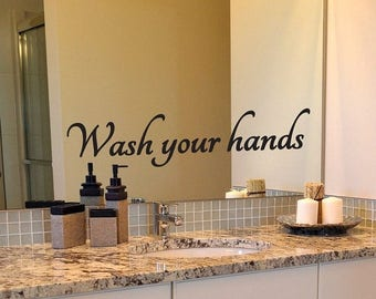 Bathroom Decal, Wash Your Hands Decal, Mirror Decal, Bathroom Mirror Decal, Wall Decal, Quote Decal, Bathroom Rules, Wash Hands, Vinyl Deca