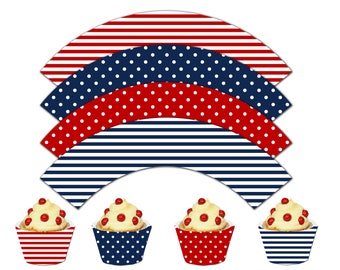 Nautical Cupcake Wrappers, Printable Cupcake Wrappers,Nautical Theme Party Decor, It's a Boy - Instant Download-DP447