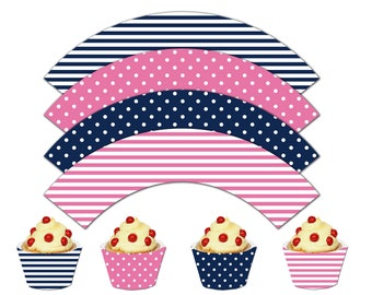 Nautical Cupcake Wrappers, Printable Cupcake Wrappers,Nautical Theme Party Decor, It's a Girl - Instant Download-DP448