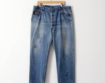 vintage 501s, Levis 501 denim blue jeans, 41 x 31