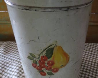Small Vintage Metal Tin Canister with Lid