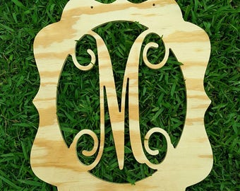 Unpainted Wooden Initial Design - Door Hanger - Home Decor - DIY