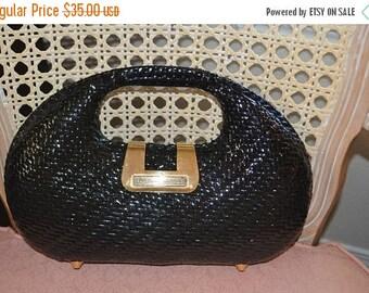 June Savings Sweet Wicker Bag~Black Wicker Bag ~ Jackie O~1960's~Hong Kong