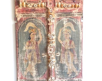 Old Door Panels from India Painted Doors Unframed Doors Original Paint Shipping Included in the U.S.