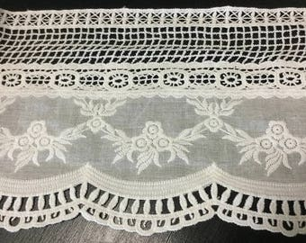 """6.5"""" Wide (16.5 cm) Wide White Cotton Eyelet Venice Embroidered Lace Trim for Linens Bedding Pillowcases Bedskirt Lingerie Tablecloth Decor"""