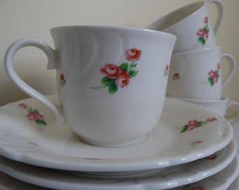 NIB Teacup Saucers 12 pc SET, Rose Pattern China Teacup Set