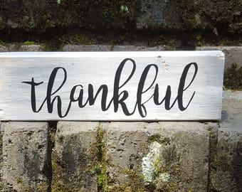 Thankful Block Sign Home Decor