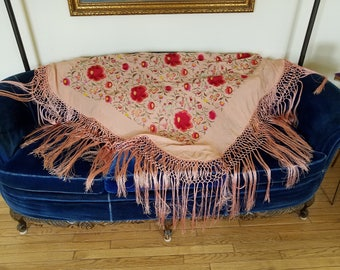 Vintage Piano Shawl Scarf Pink fringe embroidered